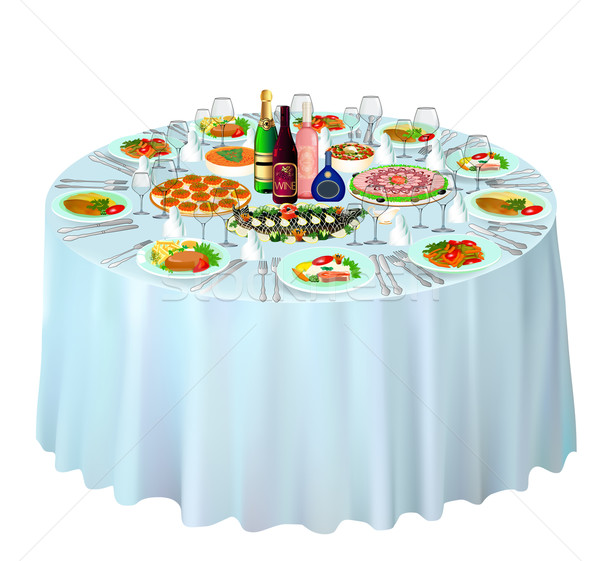 gala buffet served on white Stock photo © yurkina