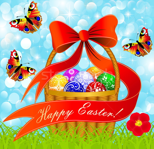 postcard with Easter eggs in the basket on the meadow Stock photo © yurkina
