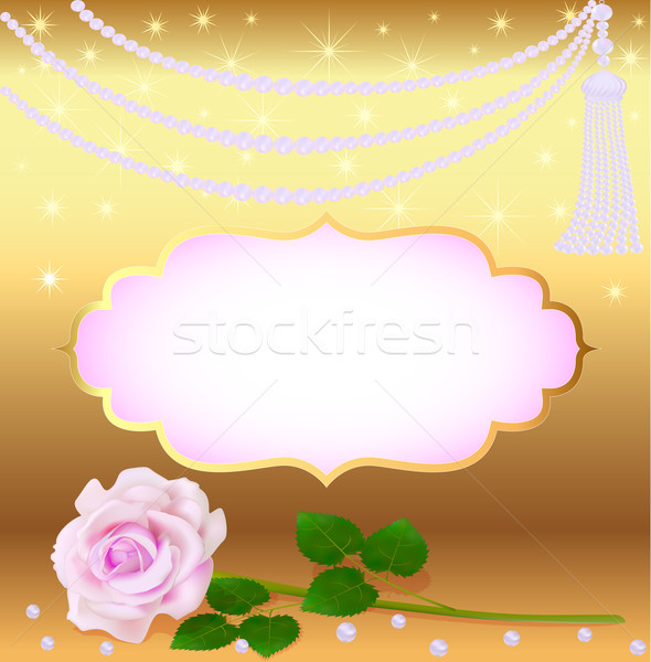 gold background to the invitation with a rose and a brush made o Stock photo © yurkina