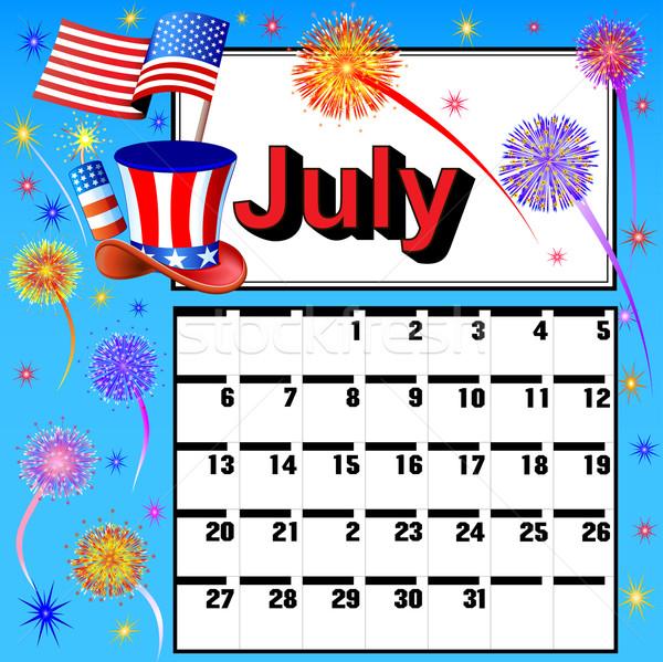 calendar for July independence day fireworks flag hat Stock photo © yurkina