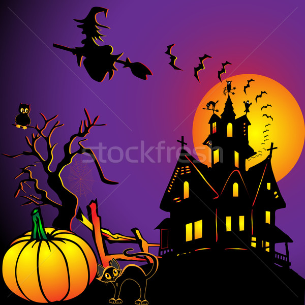 background with house by pumpkin and eagle owl Stock photo © yurkina
