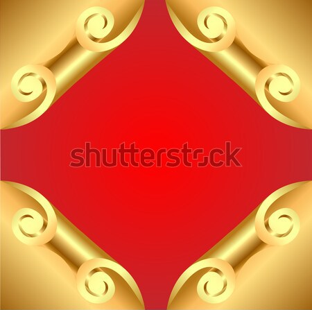 background with corners curl of gold and ornaments Stock photo © yurkina