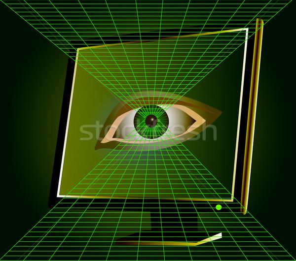 眼 モニター コンピュータ 実例 男 技術 ストックフォト © yurkina