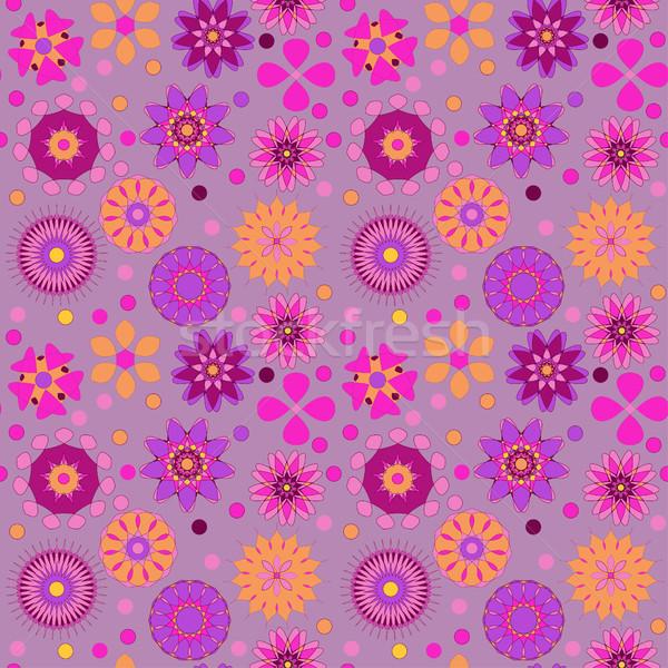 Foto stock: Ilustração · sem · costura · flores · primavera · arte