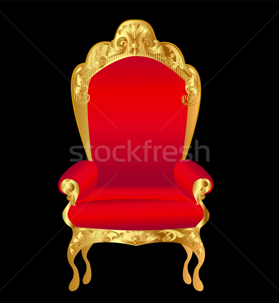 old chair red with gold ornament on black Stock photo © yurkina
