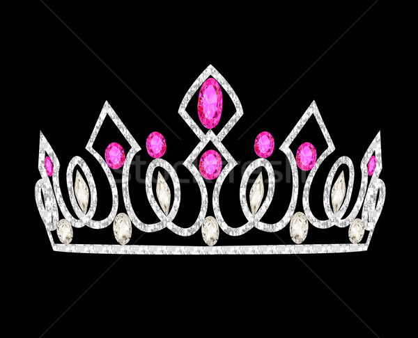 tiara crown women's wedding with pink stones Stock photo © yurkina