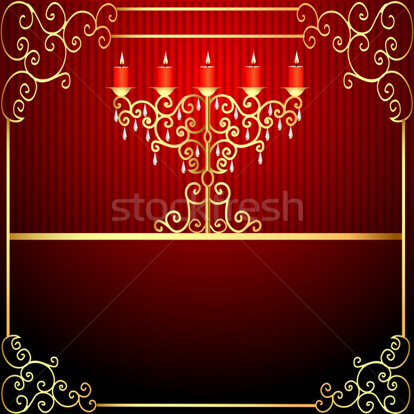 background with burning candles and gold ornamentation Stock photo © yurkina