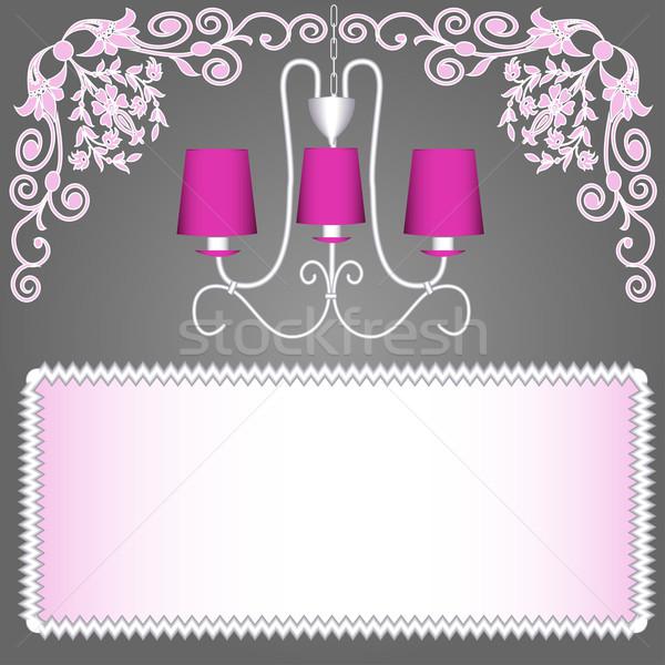 Różowy żyrandol zaproszenia ilustracja moda streszczenie Zdjęcia stock © yurkina