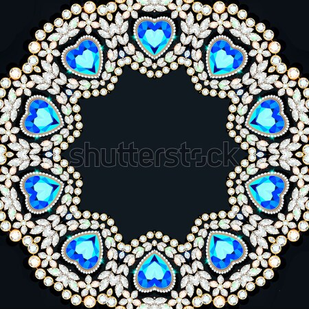 Elegant background with circular ornament of precious stones Stock photo © yurkina