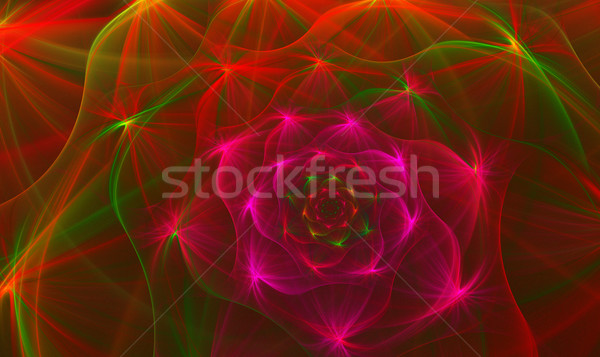 Stock photo: fractal background with bright flower with bunches of lines on