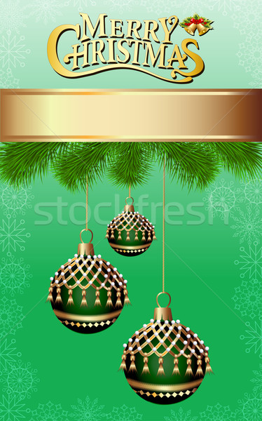 illustration background with fir branches and Christmas balls wi Stock photo © yurkina