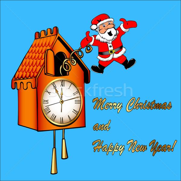 Kerstman koekoek klok illustratie man abstract Stockfoto © yurkina