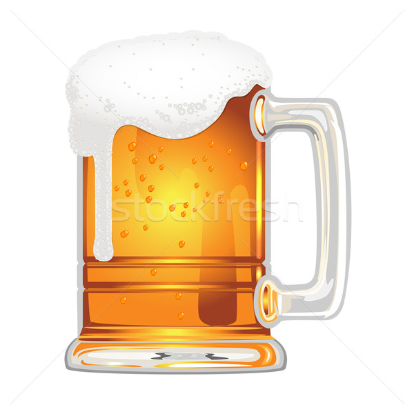 beer with bladder in glass mug on white Stock photo © yurkina