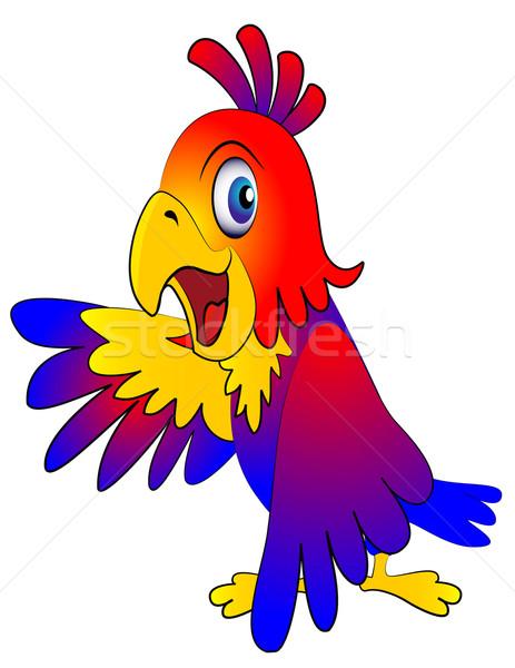 Zabawny papuga ilustracja szczęśliwy sztuki zwierząt Zdjęcia stock © yurkina
