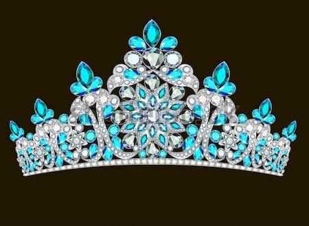 Tiara korona esküvő kék kő illusztráció Stock fotó © yurkina