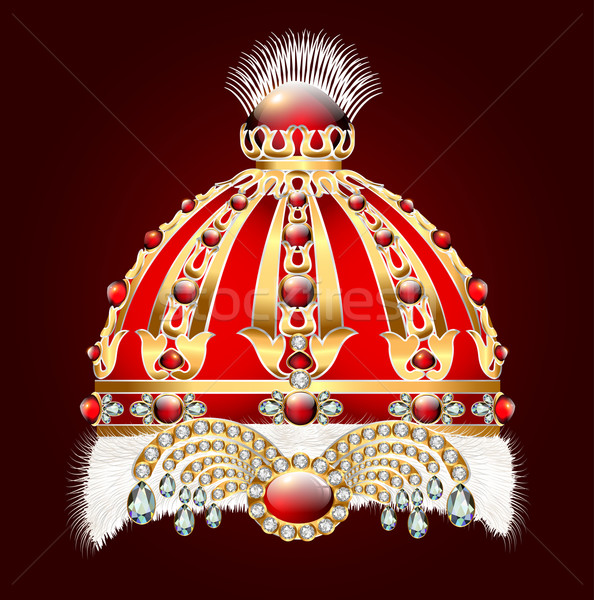 royal golden crown with an ornament and precious stones Stock photo © yurkina
