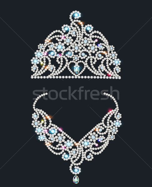 Błyszczący tiara naszyjnik ilustracja dziewczyna ślub Zdjęcia stock © yurkina