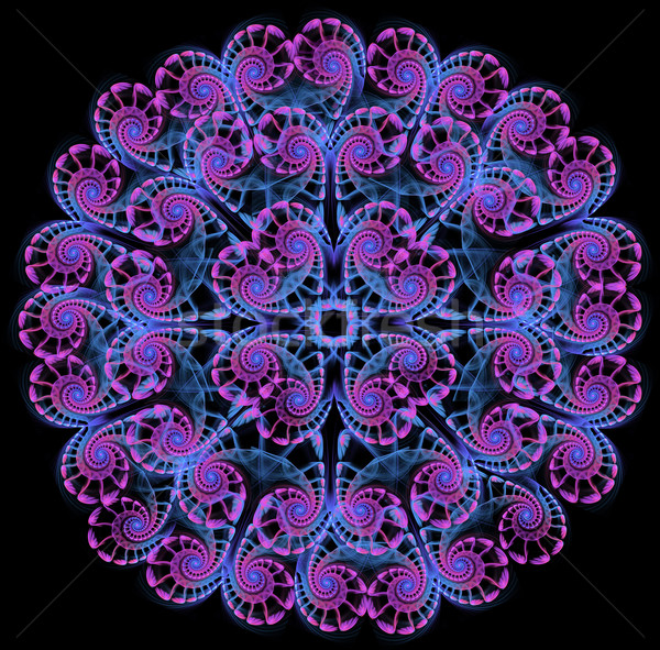 fractal  of round a lacy napkin on a black background Stock photo © yurkina