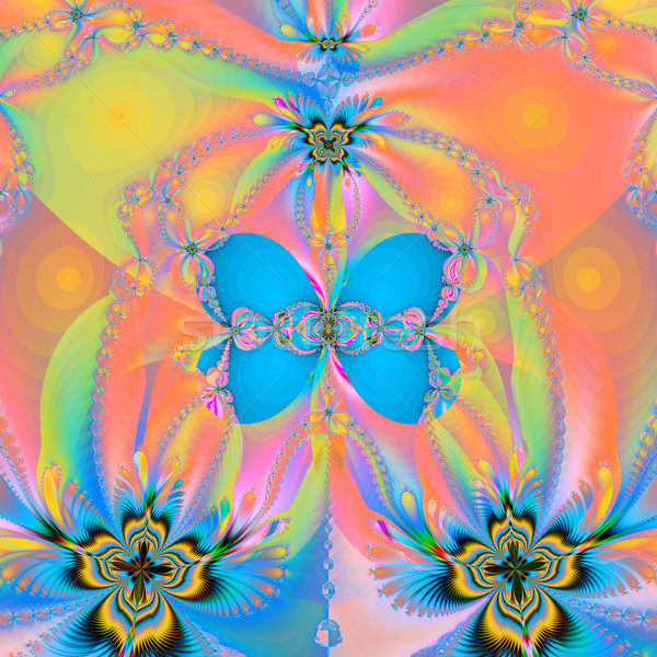 fractal illustration a butterfly and spiral  glow Stock photo © yurkina