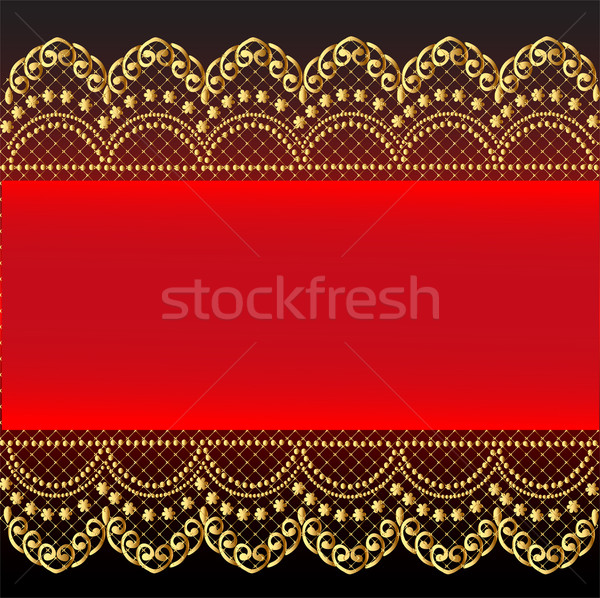 red background with gold(en) pattern and net Stock photo © yurkina