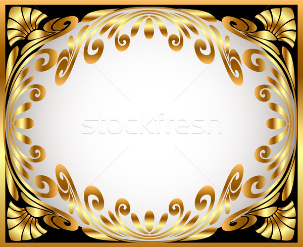 Stock photo: horizontal frame with gold(en) winding pattern