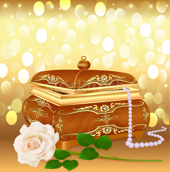 background casket with pearls and a rose Stock photo © yurkina