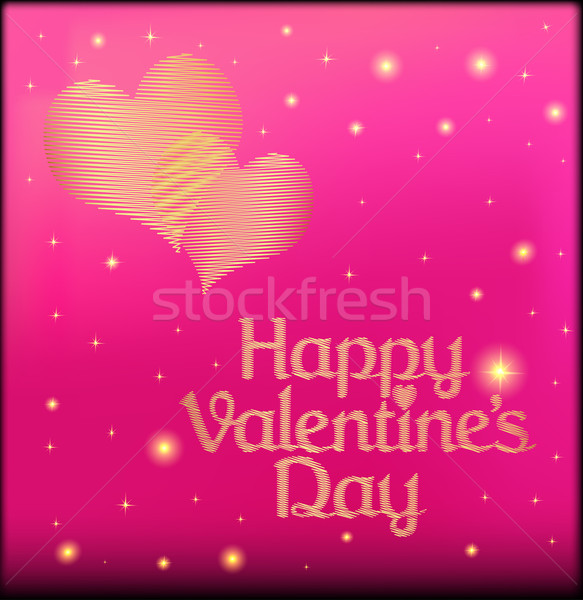 pink postcard on Valentine's day with the heart of gold color Stock photo © yurkina