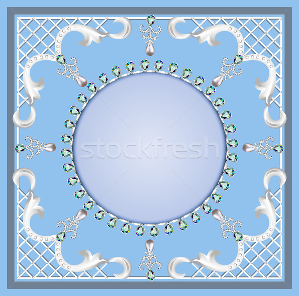 background with ornament with pearls and precious stones Stock photo © yurkina