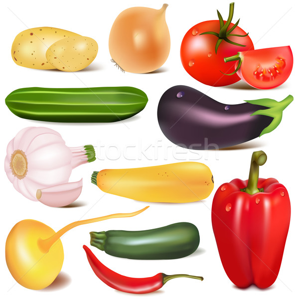 set vegetable with joint by turnip eggplant Stock photo © yurkina