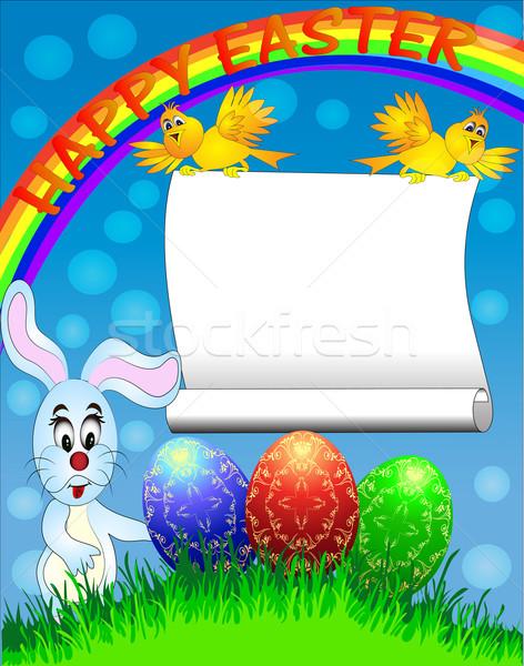пасхальное яйцо забавный кролик радуга иллюстрация аннотация Сток-фото © yurkina