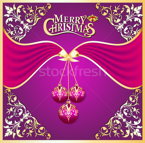 illustration background with ball on cristmas and gold pattern Stock photo © yurkina