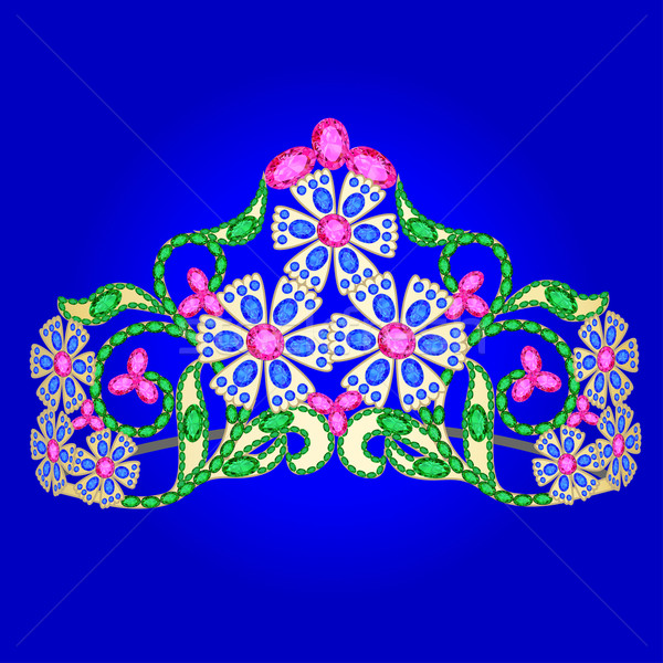 Stock photo:  tiara women's wedding with precious stones on a blue