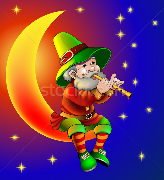 illustration magician plays on flute sitting on moon in the night Stock photo © yurkina