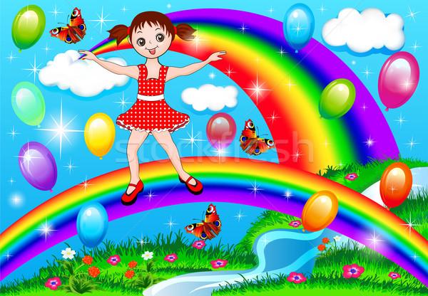 少女 虹 風船 実例 水 子 ストックフォト © yurkina