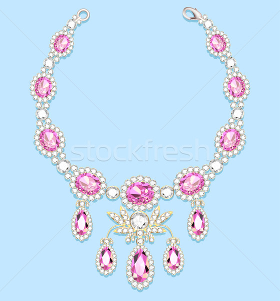 illustration female necklace of precious stones on a blue backgr Stock photo © yurkina