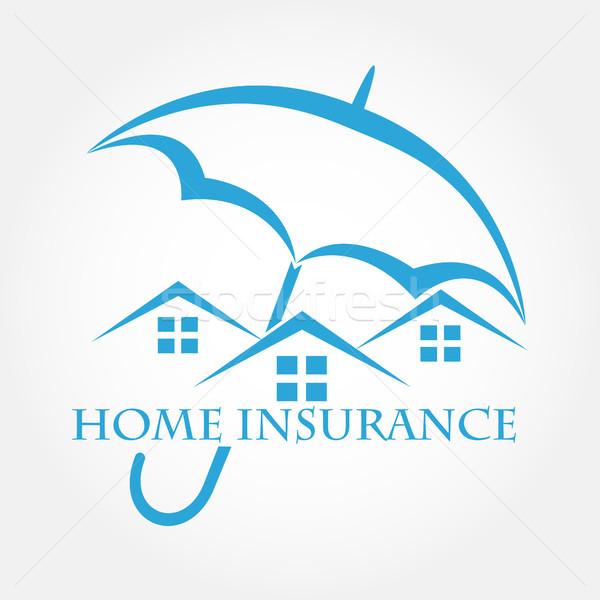 Ev şemsiye vektör ikon ev sigortası Bina Stok fotoğraf © yurkina