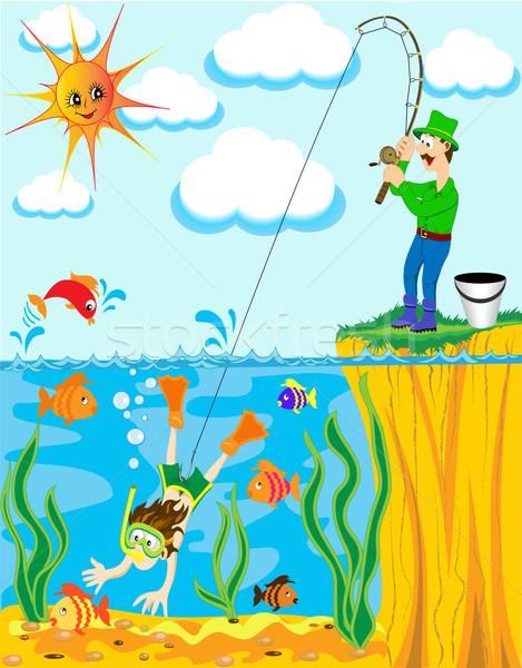 рыбак удочка Diver иллюстрация небе рыбы Сток-фото © yurkina