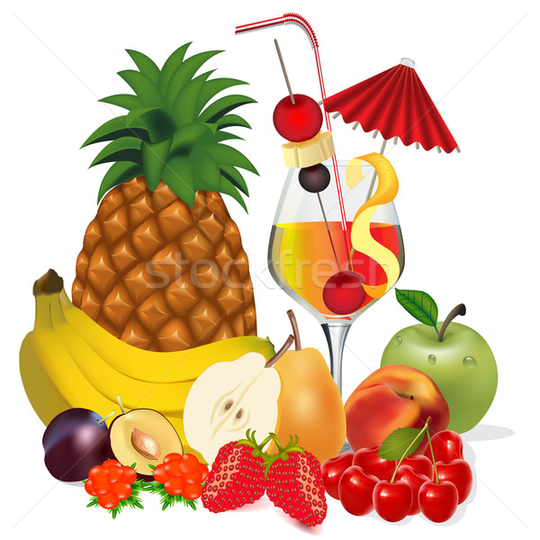 Stock photo: cocktail and fruits banana apple peach cherry plum