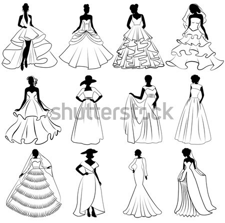 kit silhouette of the brides in wedding charge Stock photo © yurkina
