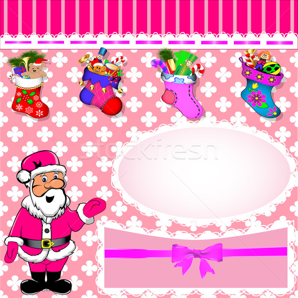 background with Santa and stockings with gifts Stock photo © yurkina