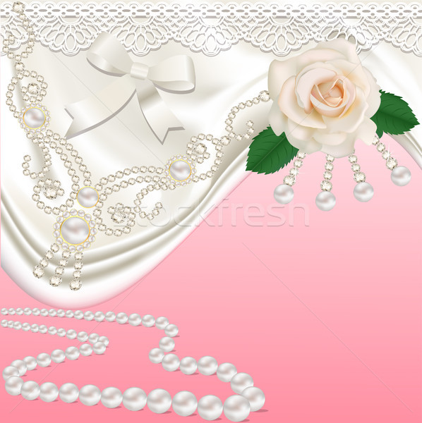 background with bridal satin and flower Stock photo © yurkina
