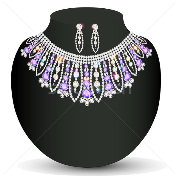 Vrouwelijke ketting oorbellen kostbaar stenen Stockfoto © yurkina