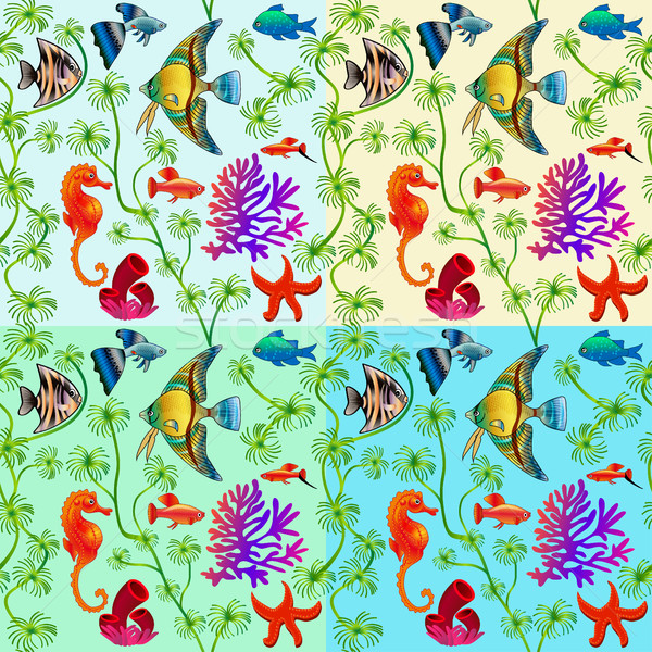set of seamless patterns of marine life with colorful fishes and Stock photo © yurkina