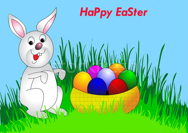 easter background with egg and amusing rabbit Stock photo © yurkina