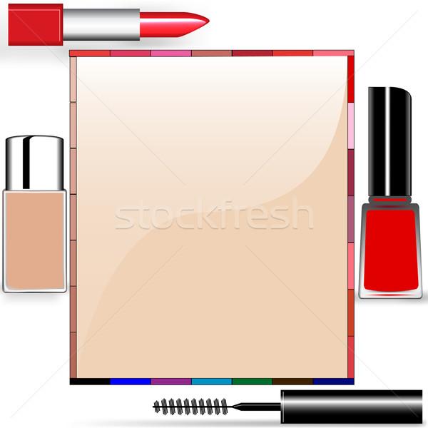 background for a message tone cream lipstick mascara nail polish Stock photo © yurkina