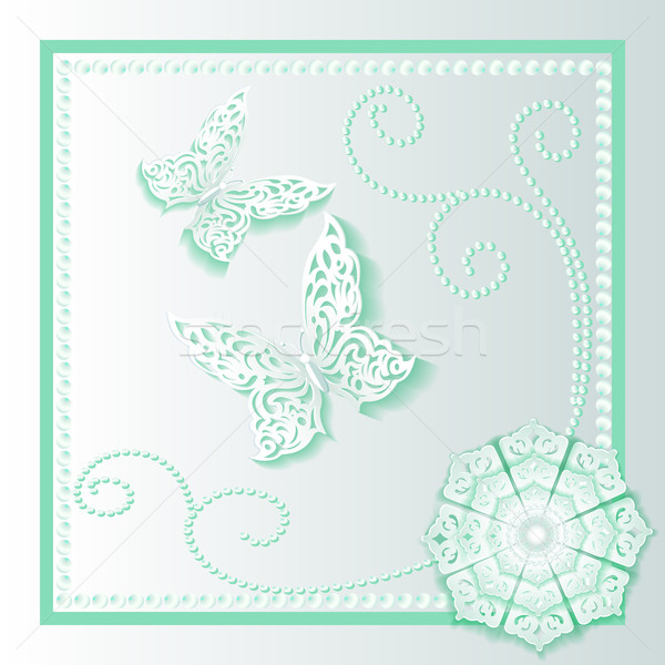 background card with flower lace and delicate butterflies Stock photo © yurkina