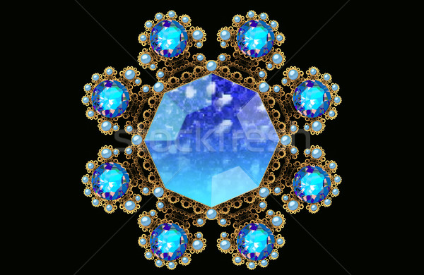 Illustration fractal gold brooch with blue gems and pearls Stock photo © yurkina