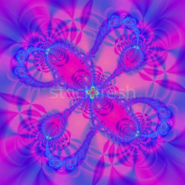 Foto stock: Colorido · fractal · floral · padrão · digital