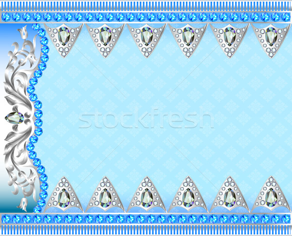 Illustration background with silver ornaments and precious stone Stock photo © yurkina