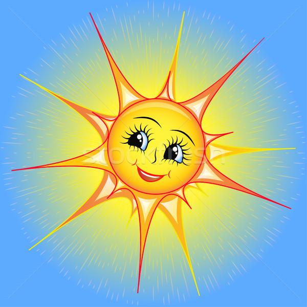 Brillante Cartoon ilustración sonriendo sol cielo Foto stock © yurkina